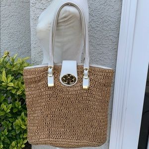 Emma Fox Straw Bag w White Handles & Gold Accents